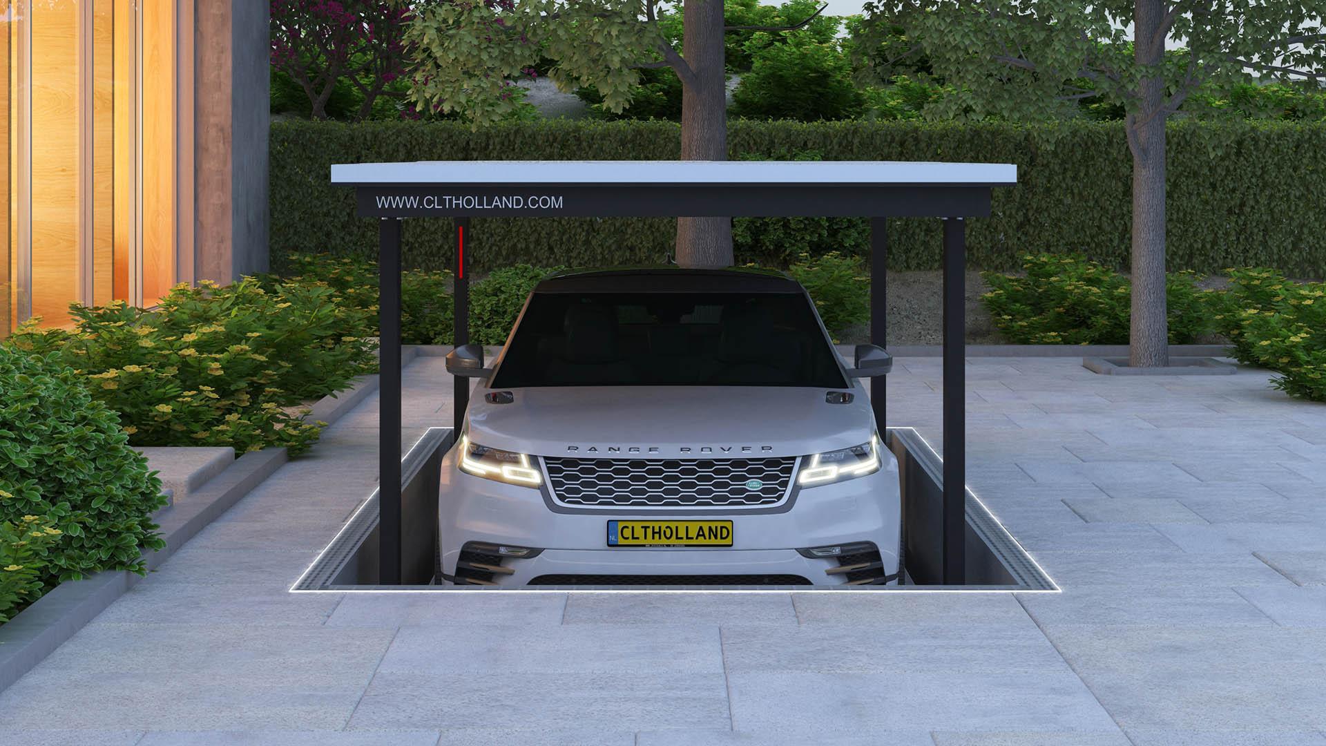 CLT Holland - Down Parker - Autolift met Range Rover volledig weggewerkt in de omgeving door tegels op het bovenste parkeerdek