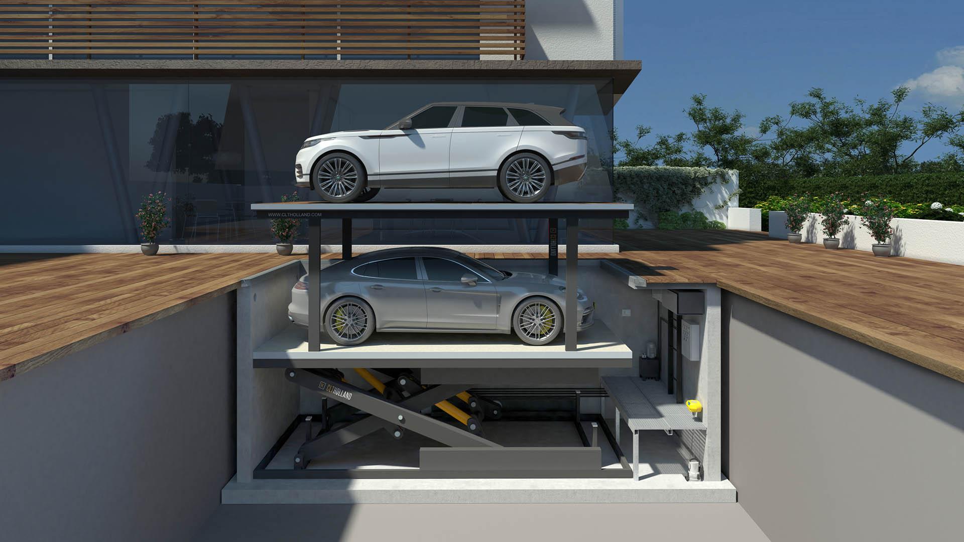 CLT Holland - Down Parker met Range Rover en Porsche - Situatie inbouw in tuin of oprit