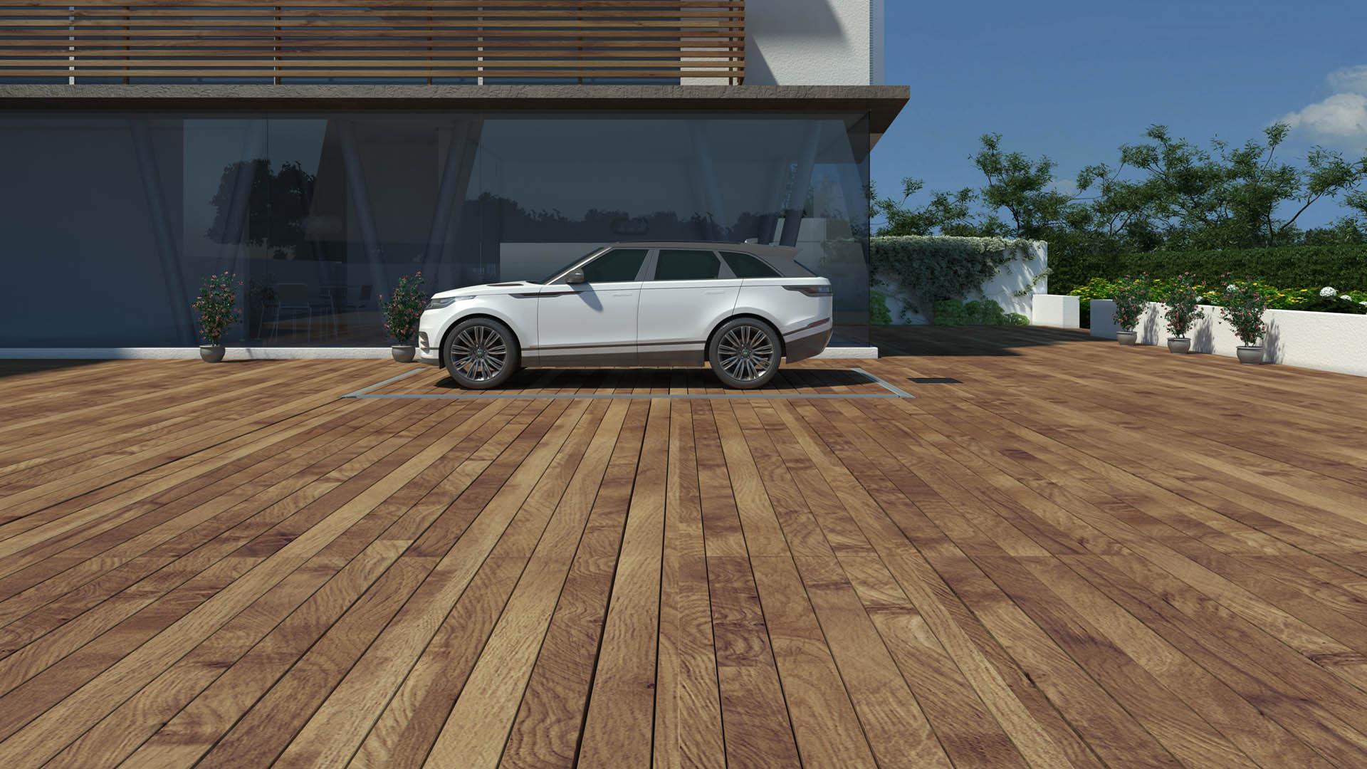 CLT Holland - Down Parker met Range Rover - Situatie inbouw in tuin of oprit