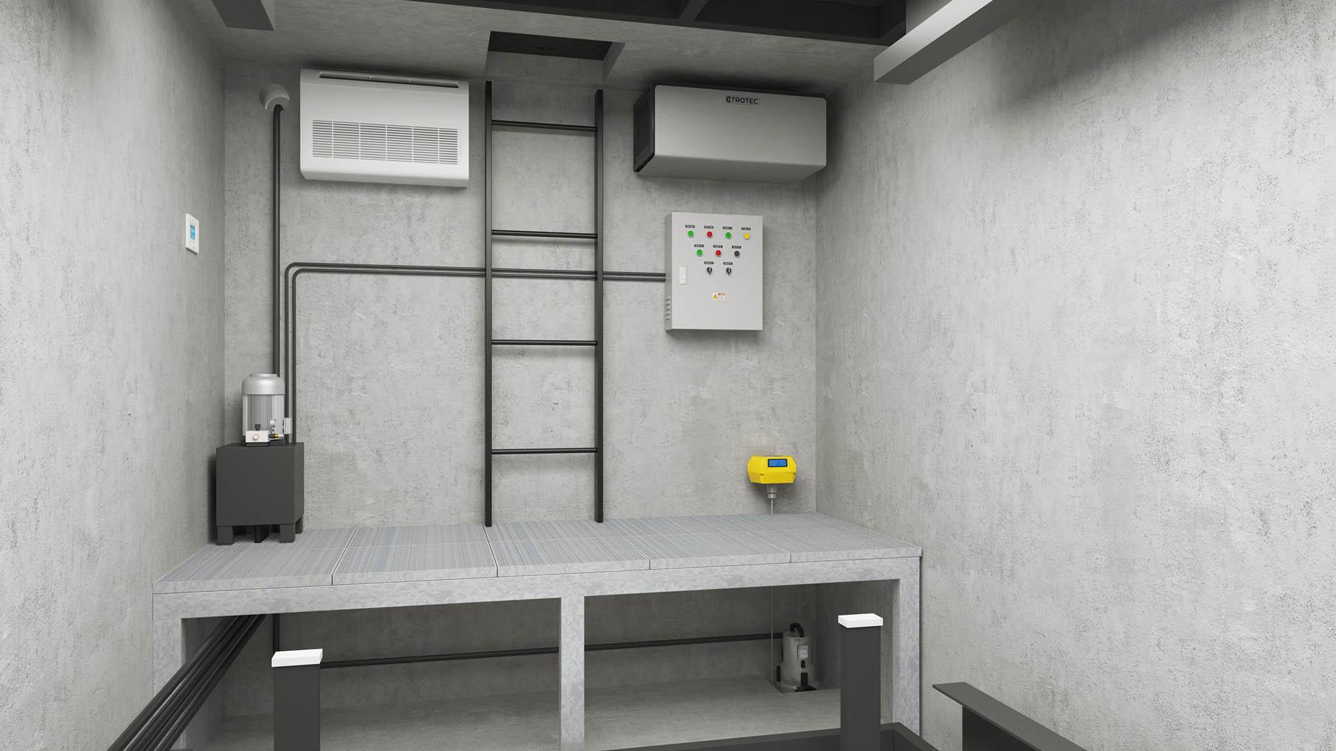 CLT Holland - Autoliften - Car Lifts - Overzicht betonbak met ingebouwde technische ruimte