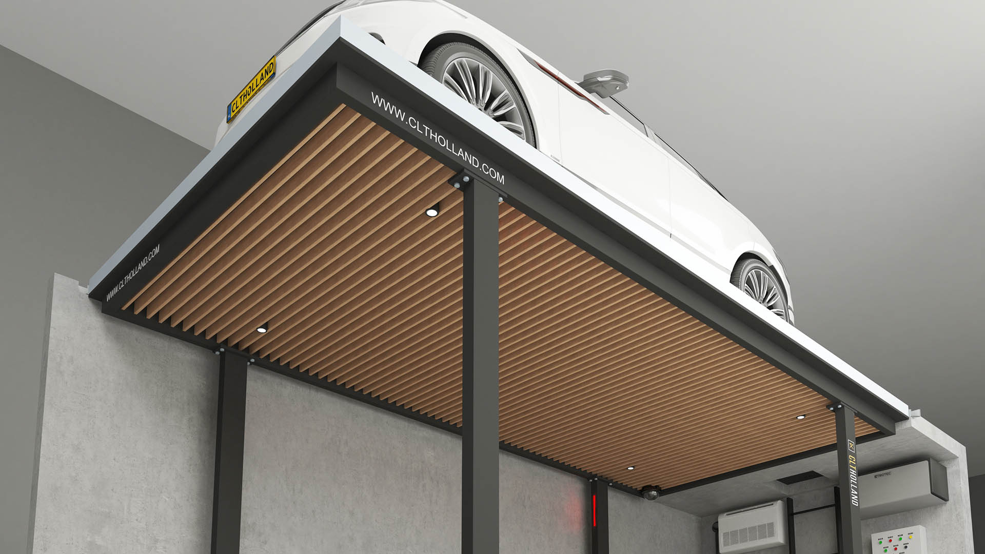 CLT Holland parkeerliften zijn tot in details afgewerkt. Dit voorbeeld is uitgevoerd met lamellen plafond.