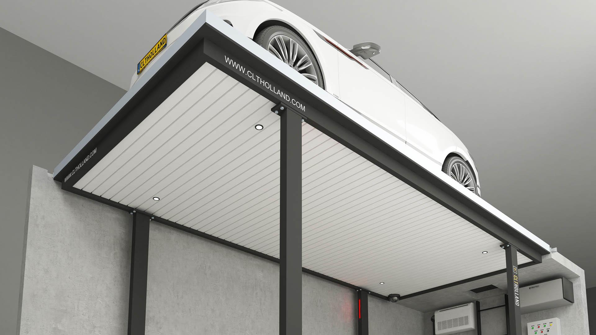 CLT Holland parkeerliften zijn tot in details afgewerkt. Dit voorbeeld is uitgevoerd met wit lamellen plafond.