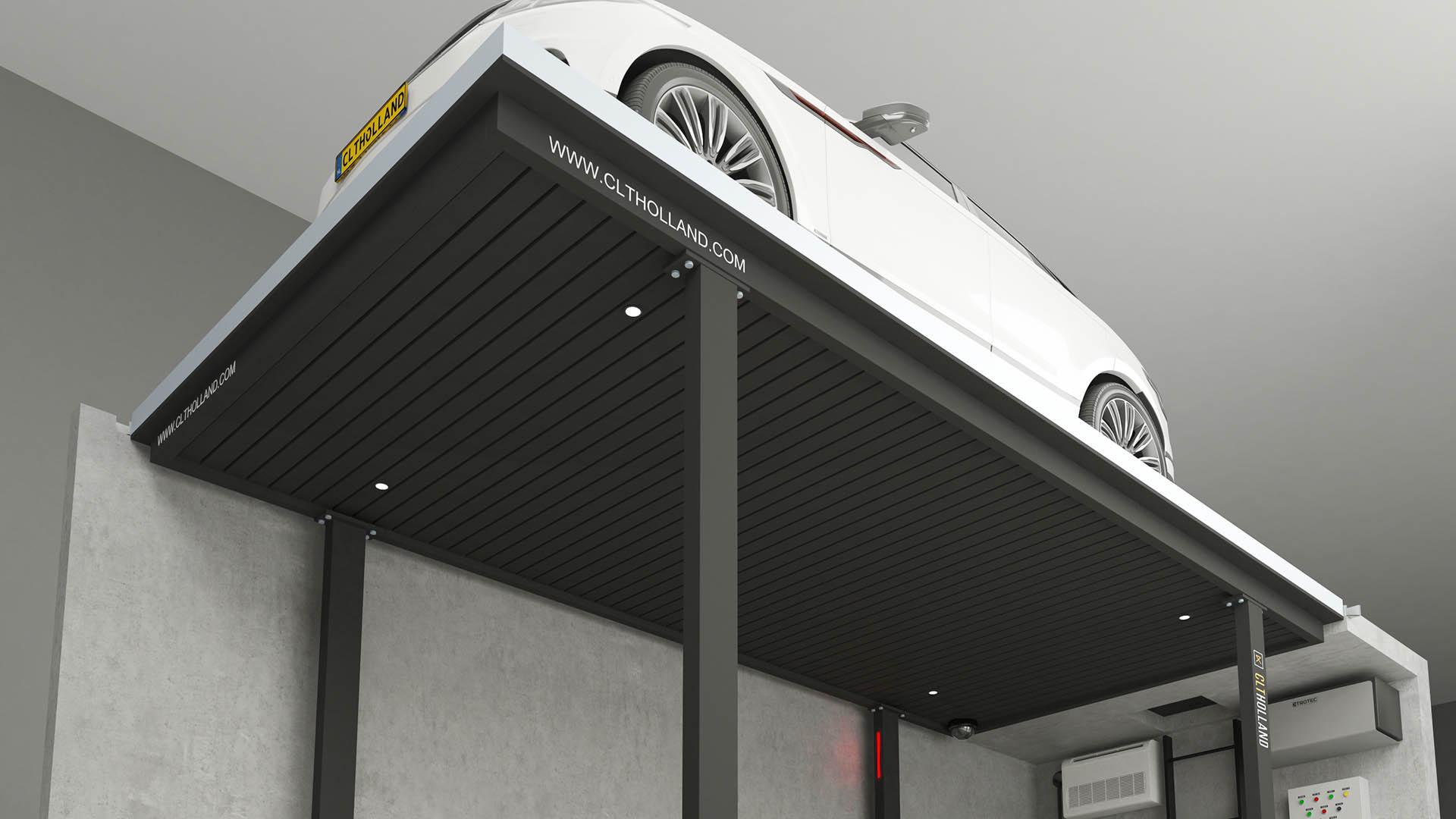 CLT Holland parkeerliften zijn tot in details afgewerkt. Dit voorbeeld is uitgevoerd met zwart lamellen plafond.