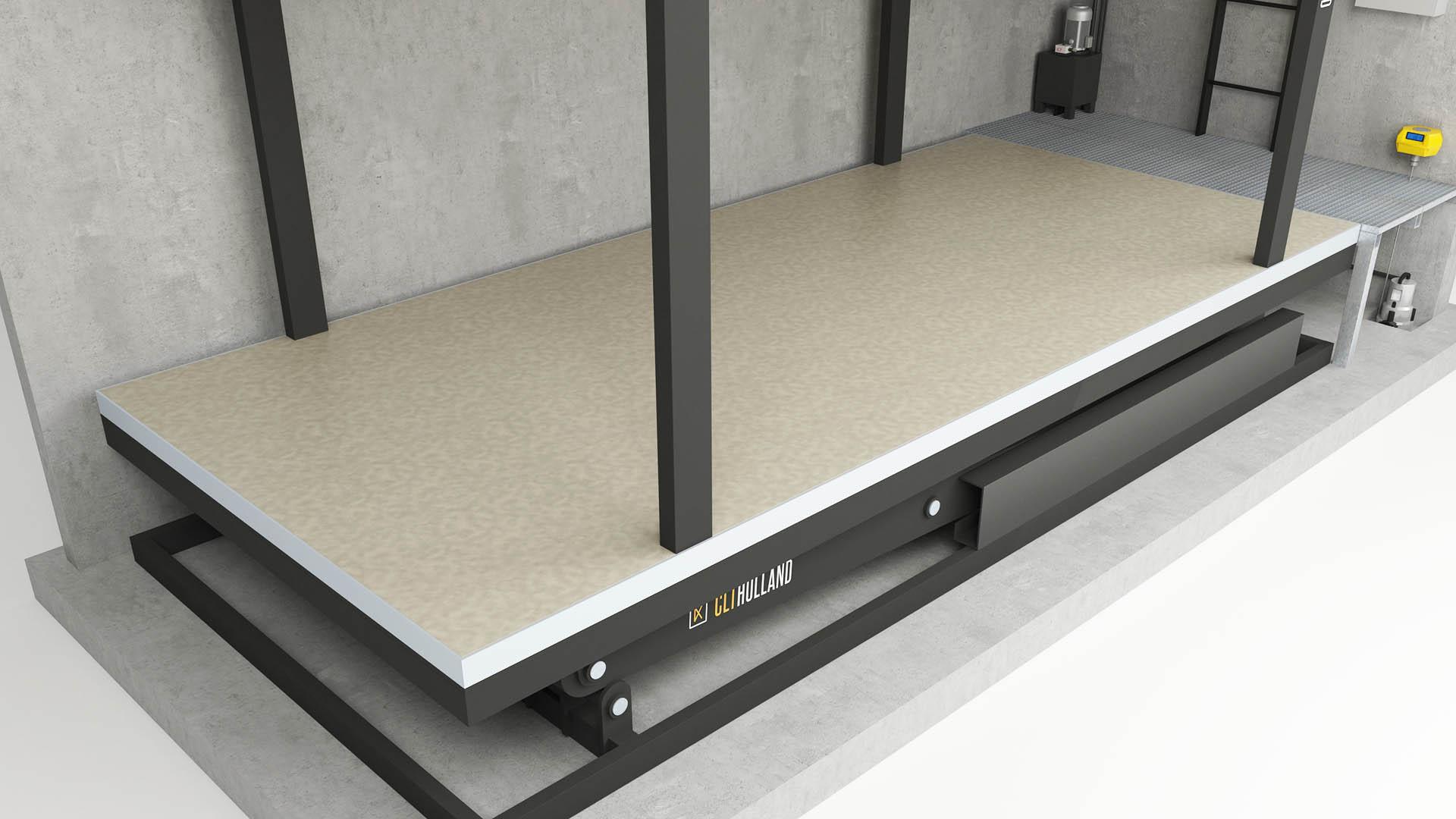 CLT Holland parkeerliften tot in details afgewerkt. Dit voorbeeld geeft de basiskleur van de vloer weer.
