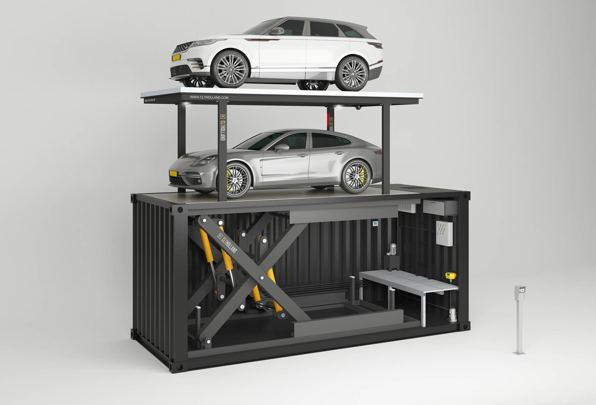 CLT Holland - Autoliften - Wilt u geen betonbak? Dan hebben wij als alternatief ook zeecontainers waarin de lift kan worden gemonteerd