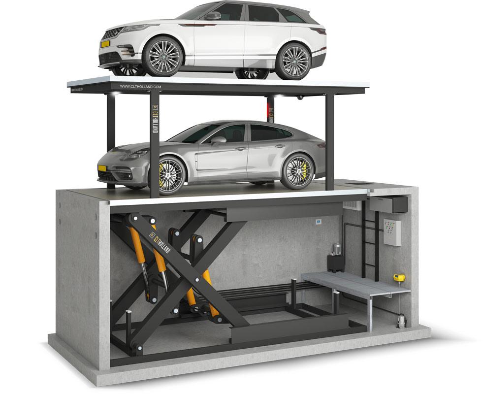 CLT Holland - Overzicht complete installatie Down Parker met Range Rover en Porsche