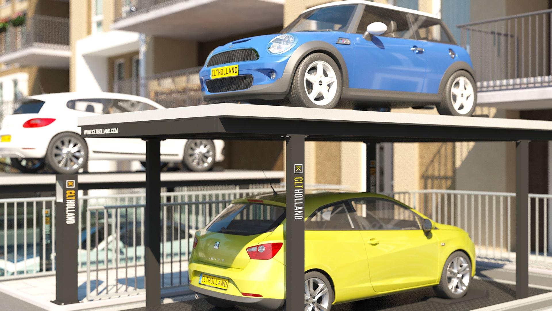 CLT Holland projectbouw - Meerdere Down Parkers naast elkaar bij nieuwbouw project met beperkte parkeermogelijkheden