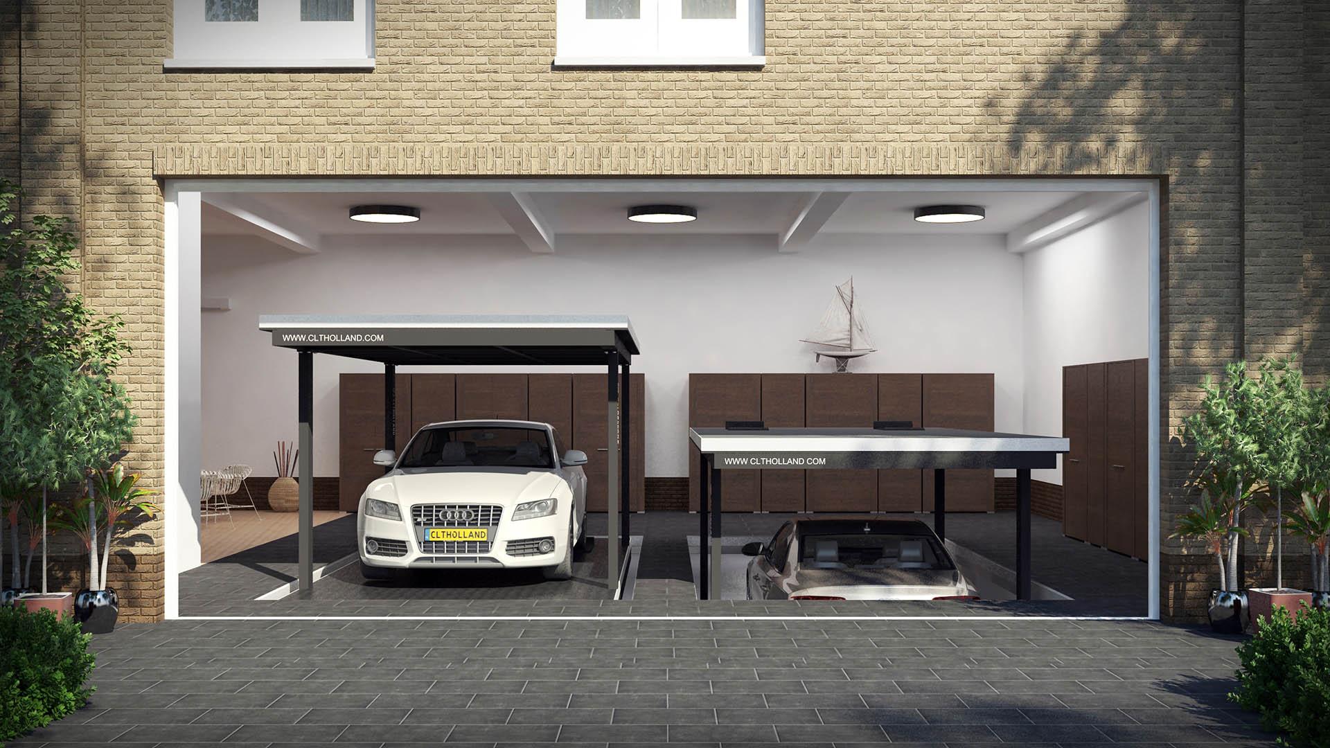 CLT Holland - dubbele Down Parker - Situatie inbouw in garage