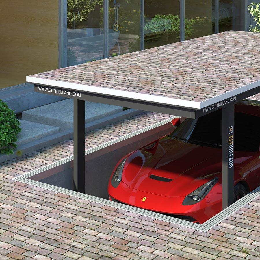 CLT Holland - Down Parker met Ferrari - Situatie inbouw in tuin of oprit afgewerkt met klinkers