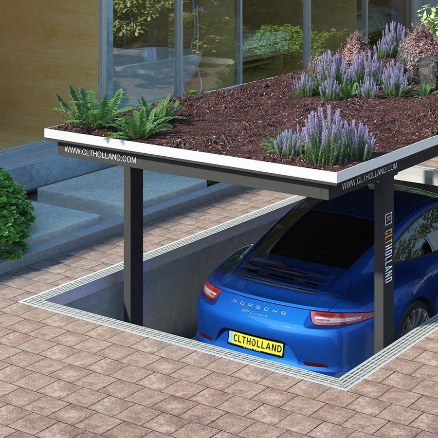 CLT Holland - Down Parker met Porsche - Situatie inbouw in tuin of oprit afgewerkt met planten en aarde