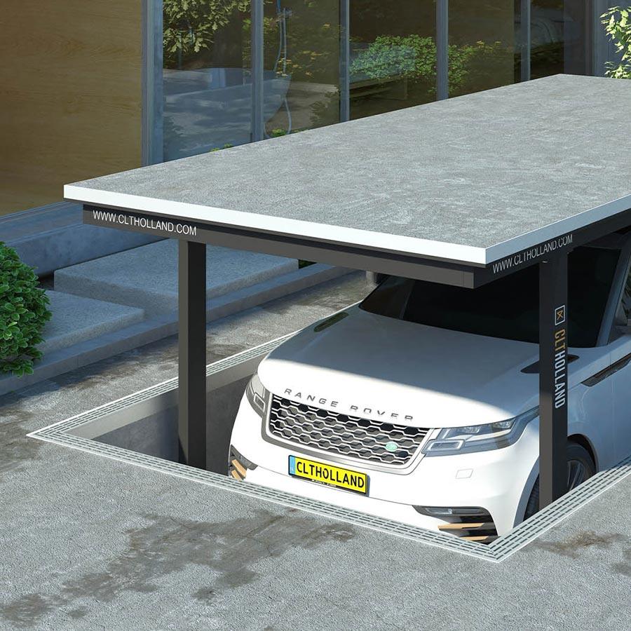 CLT Holland - Down Parker met Range Rover - Situatie inbouw in tuin of oprit afgewerkt met beton