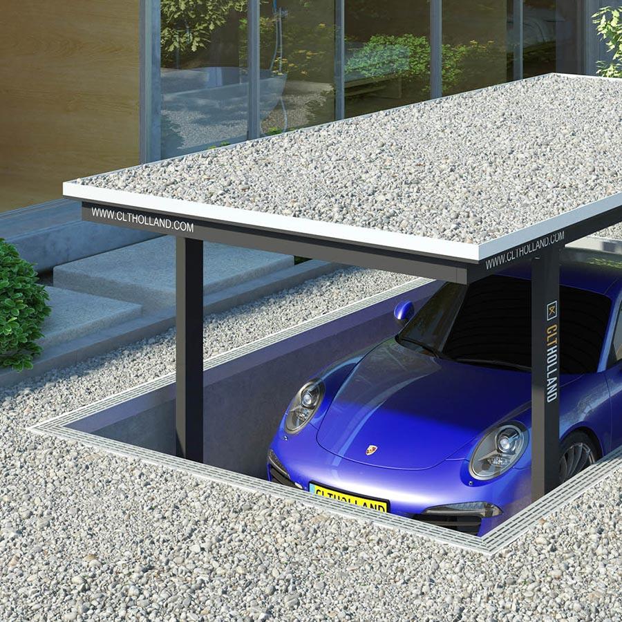 CLT Holland - Down Parker met Porsche - Situatie inbouw in tuin of oprit afgewerkt met grind