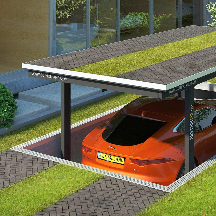 CLT Holland - Down Parker met Jaguar - Situatie inbouw in tuin of oprit afgewerkt met gras en klinkers