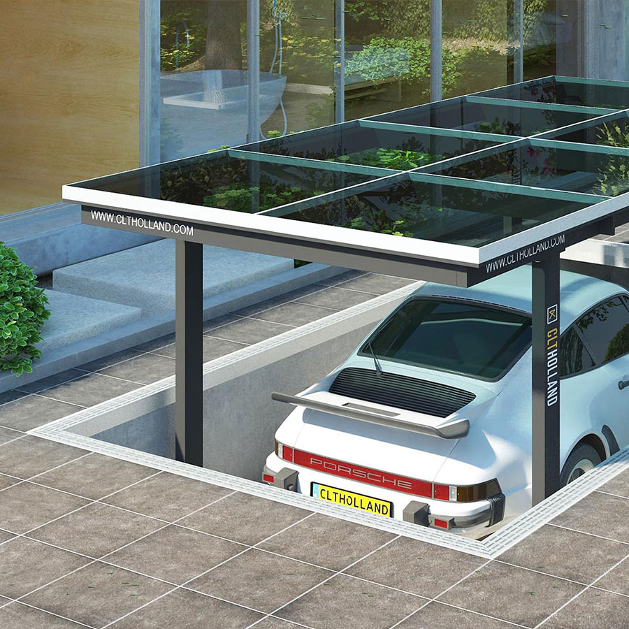 CLT Holland - Autoliften - Situatie Down Parker met glazen bovenste parkeerdek