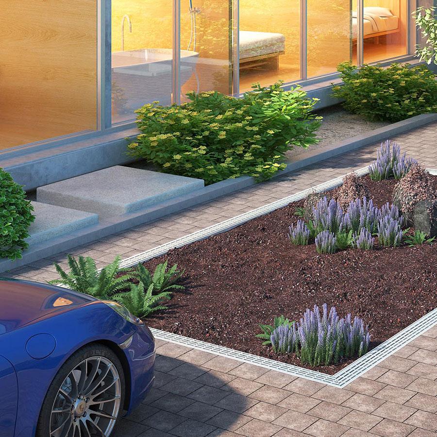 CLT Holland - Autoliften - Situatie Down Parker met bovenste parkeerdek afgewerkt met aarde en planten