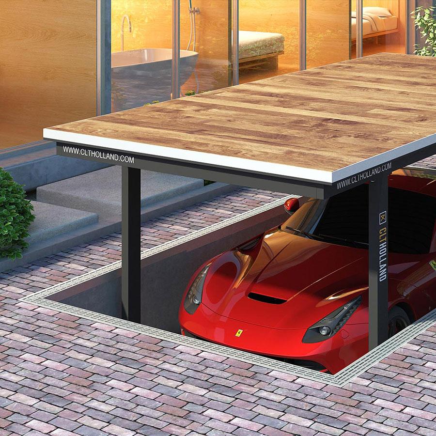 CLT Holland - Autoliften - Situatie Down Parker met bovenste parkeerdek afgewerkt met hout