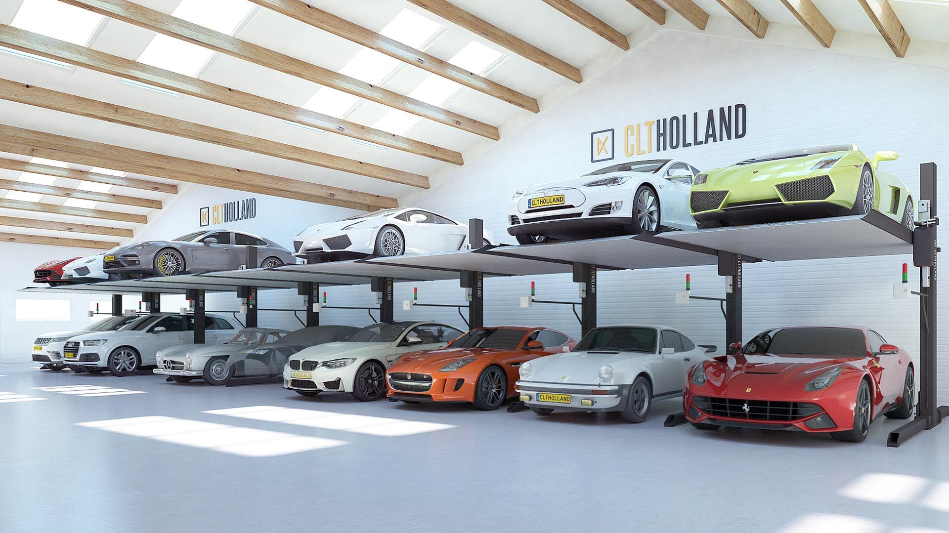 CLT Holland - Up Parker - Situatie showroom, autoverzamelaar of garage