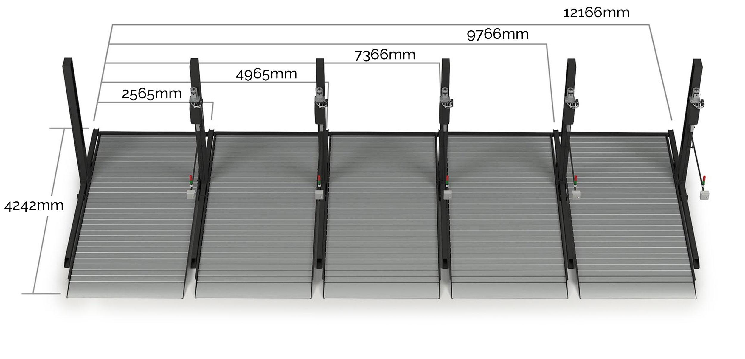 CLT Holland - meerdere 2 kolom Up Parkers - Afmetingen parkeerbrug, autolift