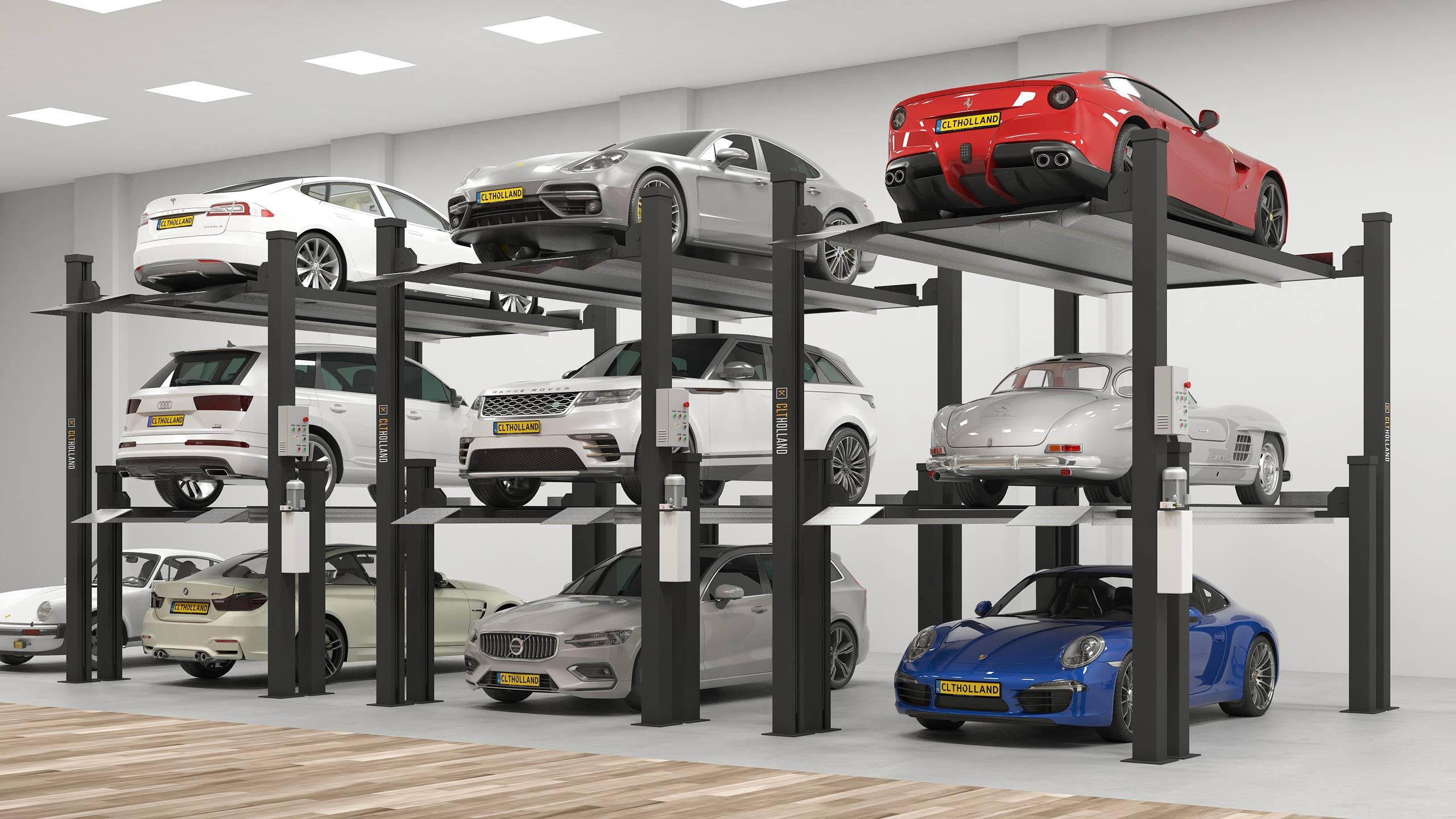car stacker triple parkeerlift parkeeroplossing opslag classic car depot