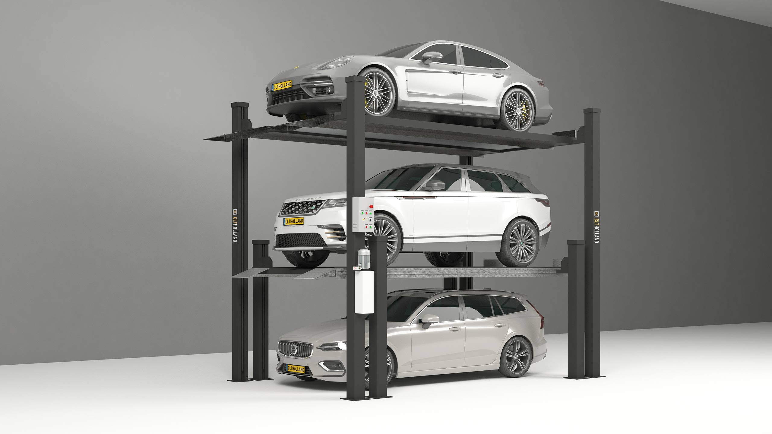 car stacker triple parkeerlift parkeeroplossing opslag classic car depot